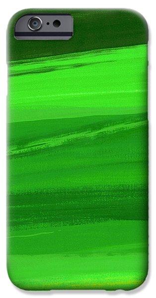 Abstracts iPhone Cases - Kensington Gardens Series My World Of Green 3 Oil On Canvas iPhone Case by Izabella Godlewska de Aranda