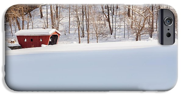 Snow Scene iPhone Cases - Kent Falls Covered Bridge iPhone Case by Bill  Wakeley