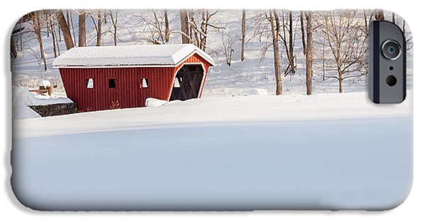 New England Snow Scene iPhone Cases - Kent Falls Covered Bridge Square iPhone Case by Bill  Wakeley