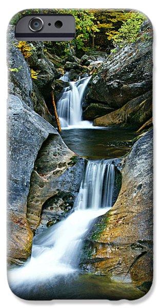 Kent Connecticut iPhone Cases - Kent Falls Double Cascades-autumn iPhone Case by Thomas Schoeller