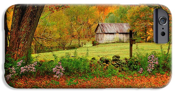 Village iPhone Cases - Kent Hollow-Connecticut autumn scenic iPhone Case by Thomas Schoeller