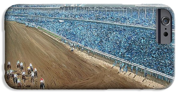Kentucky Derby Paintings iPhone Cases - Kentucky Derby - Horse Race iPhone Case by Mike Rabe