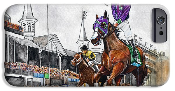 Horse Racing Drawings iPhone Cases - Kentucky Derby winner California Chrome iPhone Case by Dave Olsen