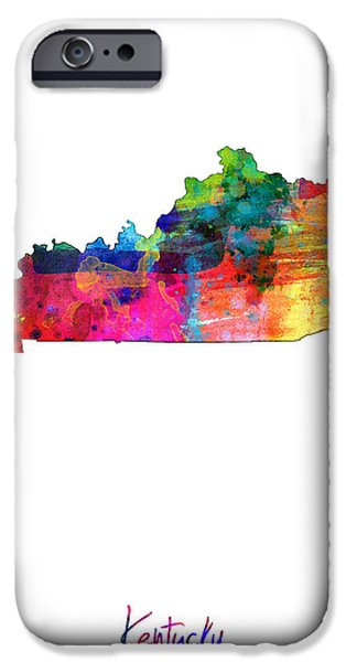 Louisville iPhone Cases - Kentucky Map iPhone Case by Michael Tompsett