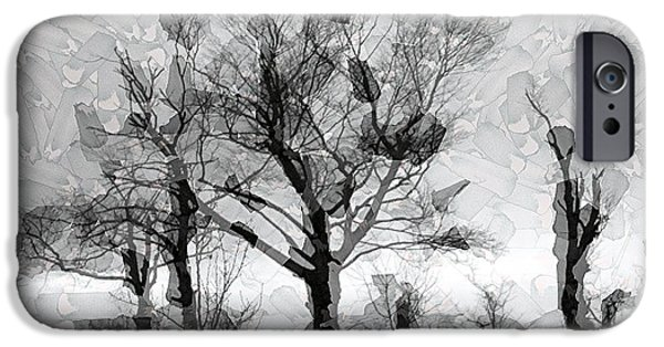 Mosaic Tapestries - Textiles iPhone Cases - Kentucky Trees in Winter iPhone Case by Thia Stover