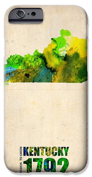 Home Digital Art iPhone Cases - Kentucky Watercolor Map iPhone Case by Naxart Studio