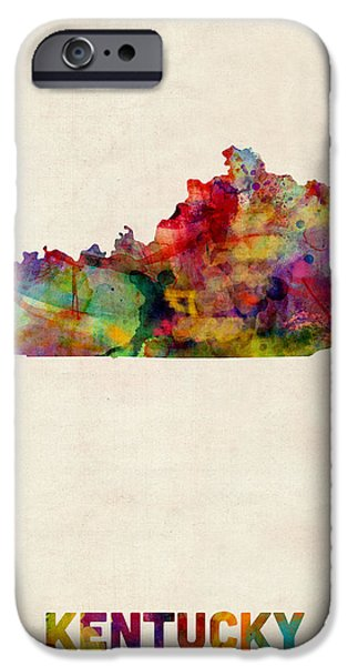 Louisville iPhone Cases - Kentucky Watercolor Map iPhone Case by Michael Tompsett