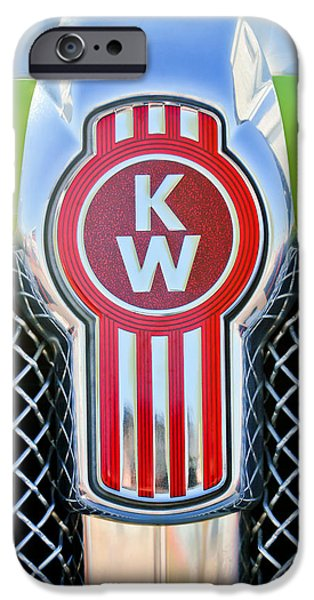 Antique Cars iPhone Cases - Kenworth Truck Emblem -1196c iPhone Case by Jill Reger