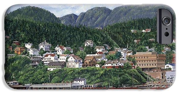 Harbor Paintings iPhone Cases - Ketchikan Alaska iPhone Case by Don  Langeneckert