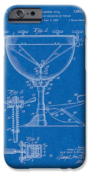 Mechanism iPhone Cases - Kettle Drum Tuning Mechanism Or Tympano Patent - Blueprint iPhone Case by BJ Simpson