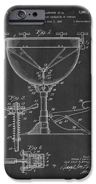 Mechanism iPhone Cases - Kettle Drum Tuning Mechanism Or Tympano Patent - Chalkboard iPhone Case by BJ Simpson
