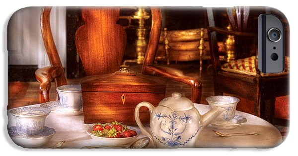 Tea Party iPhone Cases - Kettle -  Have some Tea - Chinese tea set iPhone Case by Mike Savad