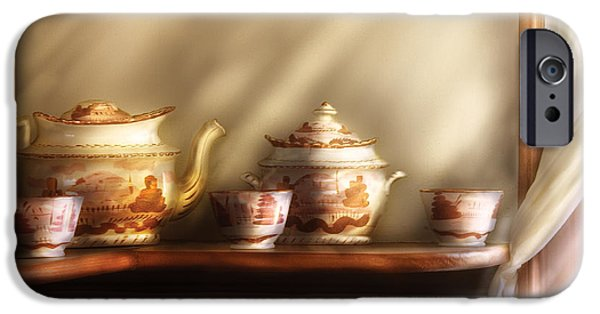 Tea Party Photographs iPhone Cases - Kettle - My Grandmothers Chinese Tea Set  iPhone Case by Mike Savad