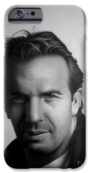 Portraits iPhone Cases - Kevin Costner iPhone Case by Miro Gradinscak