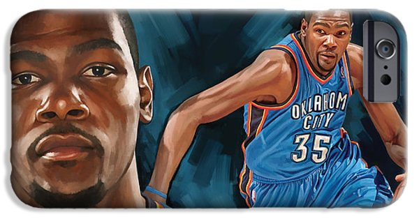 City Mixed Media iPhone Cases - Kevin Durant Artwork iPhone Case by Sheraz A