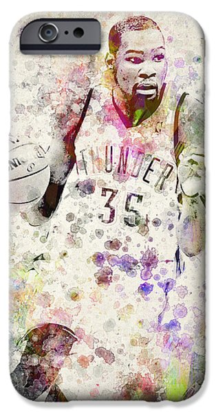 Dunk iPhone Cases - Kevin Durant in color iPhone Case by Aged Pixel