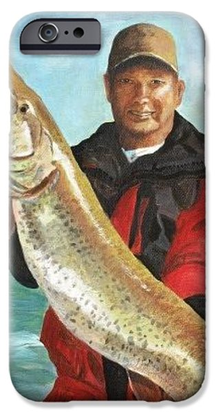 Musky Paintings iPhone Cases - Kevins Musky iPhone Case by Gina  Boyd-Mullins
