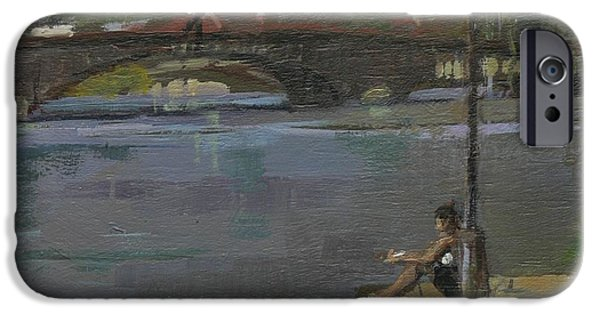 River iPhone Cases - Kew Bridge, 2009 Oil On Canvas iPhone Case by Pat Maclaurin