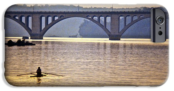 D.c. iPhone Cases - Key Bridge Rower iPhone Case by Stuart Litoff