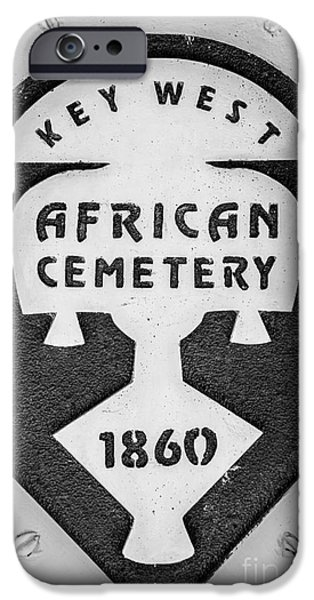 Slaves iPhone Cases - Key West African Cemetery 3 - Key West - Black and White iPhone Case by Ian Monk