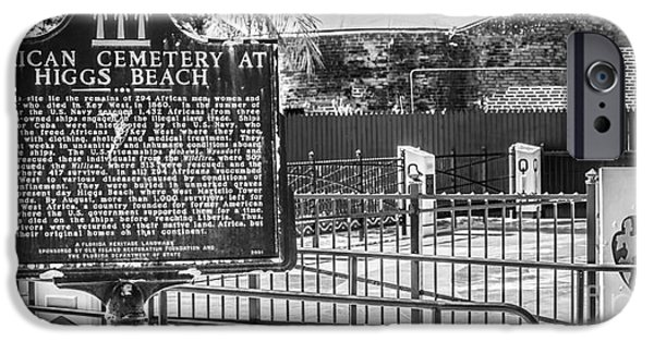Slaves iPhone Cases - Key West African Cemetery 7 - Key West - Panoramic - Black and White iPhone Case by Ian Monk