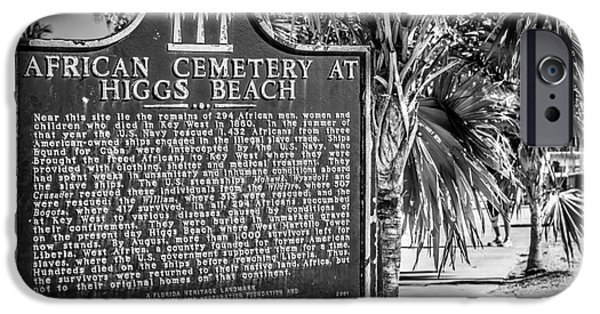 Slaves iPhone Cases - Key West African Cemetery Sign Landscape - Key West - Black and White iPhone Case by Ian Monk