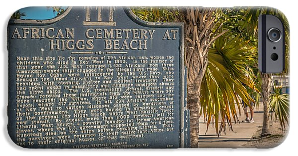 Slaves Photographs iPhone Cases - Key West African Cemetery Sign Landscape - Key West - HDR Style iPhone Case by Ian Monk