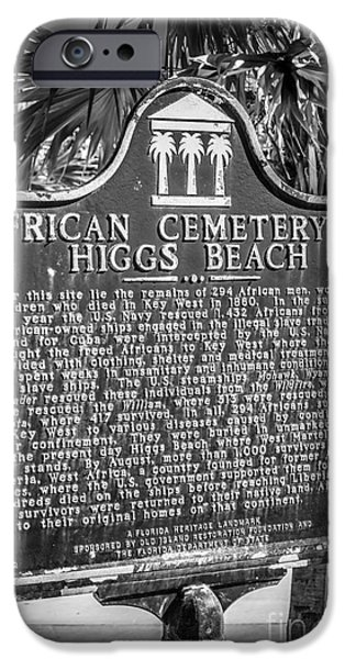 Slaves iPhone Cases - Key West African Cemetery Sign Portrait - Key West - Black and W iPhone Case by Ian Monk