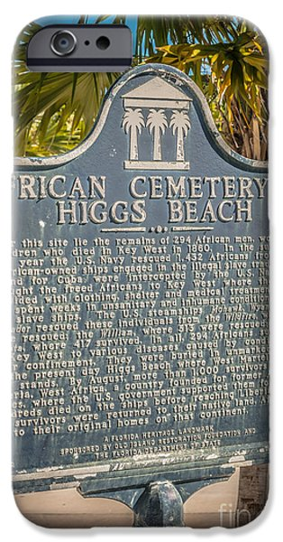 Slaves Photographs iPhone Cases - Key West African Cemetery Sign Portrait - Key West - HDR Style iPhone Case by Ian Monk