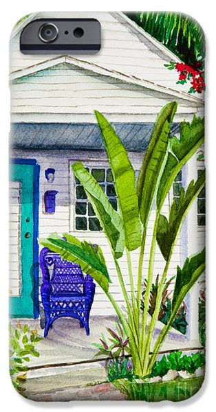 Tropical Paintings iPhone Cases - Key West Cottage Watercolor iPhone Case by Michelle Wiarda