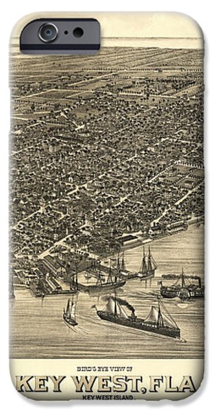KEY WEST FLORIDA MAP 1884 iPhone Case by Daniel Hagerman