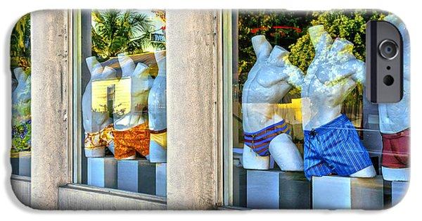 Bathing Pyrography iPhone Cases - Key West Window iPhone Case by Bob Skalkowski