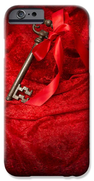 Antiques iPhone Cases - Key With Ribbon iPhone Case by Amanda And Christopher Elwell