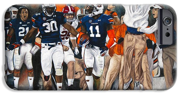Auburn iPhone Cases - Kick Six iPhone Case by Lance Curry