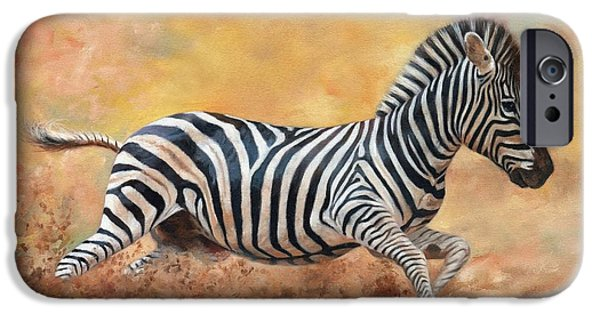 Zebra Prints iPhone Cases - Kicking Up Dust iPhone Case by David Stribbling