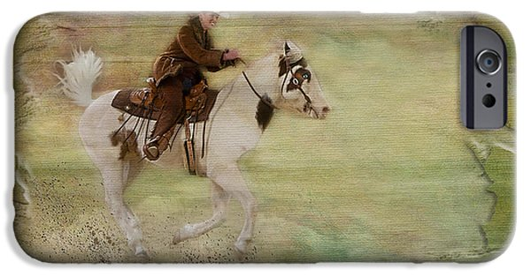 Horse Racing iPhone Cases - Kicking Up Some Dirt iPhone Case by Susan Candelario