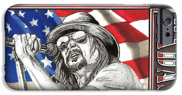 Celebrities Art Drawings iPhone Cases - Kid Rock American Badass iPhone Case by Cory Still