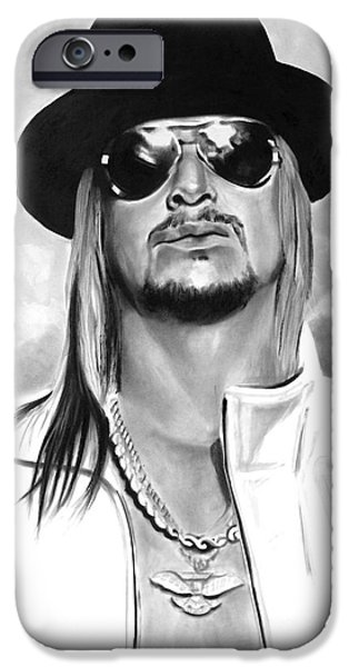 Rocks Drawings iPhone Cases - Kid Rock iPhone Case by Brian Curran