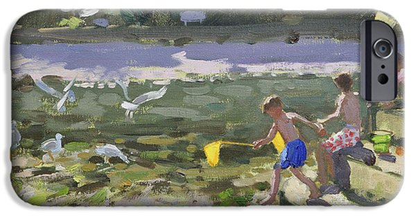 Net Paintings iPhone Cases - Kids and seagulls iPhone Case by Andrew Macara