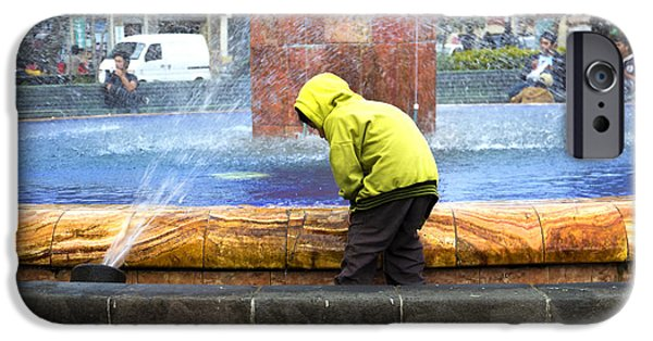 Raincoat iPhone Cases - Kids And Water Do Mix iPhone Case by Al Bourassa