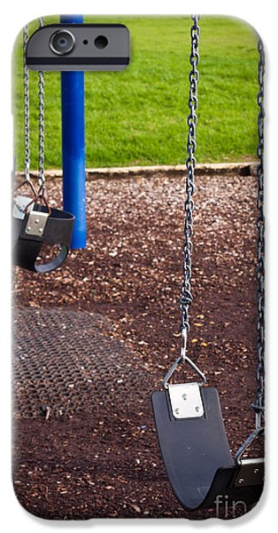 Missing Child iPhone Cases - Kids playground swing detail iPhone Case by Jan Mika