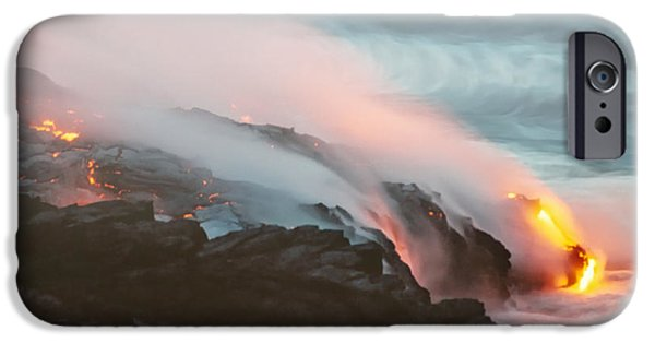 Chain-ring iPhone Cases - Kilauea Lava Meets the Pacific iPhone Case by Mary Lee Dereske