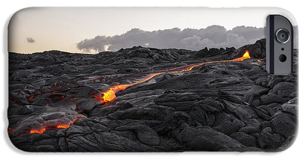 Geology Photographs iPhone Cases - Kilauea Volcano 60 Foot Lava Flow - The Big Island Hawaii iPhone Case by Brian Harig