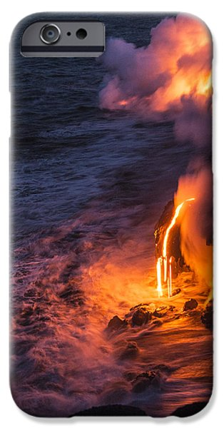 National Parks iPhone Cases - Kilauea Volcano Lava Flow Sea Entry 6 - The Big Island Hawaii iPhone Case by Brian Harig