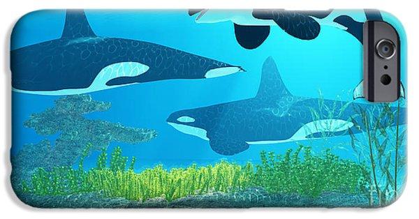 Whale Digital iPhone Cases - Killer Whale Reef iPhone Case by Corey Ford