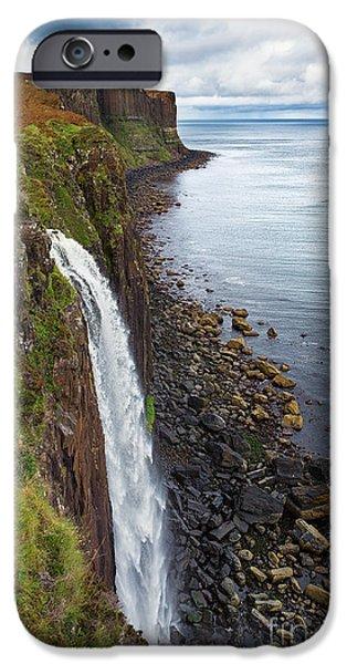Kilt Rock waterfall iPhone Case by Jane Rix