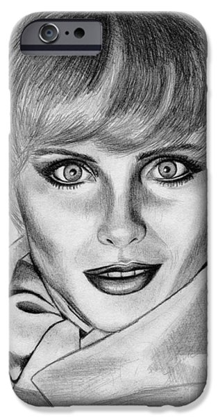 Kim Drawings iPhone Cases - Kim Alexis in 1985 iPhone Case by J McCombie