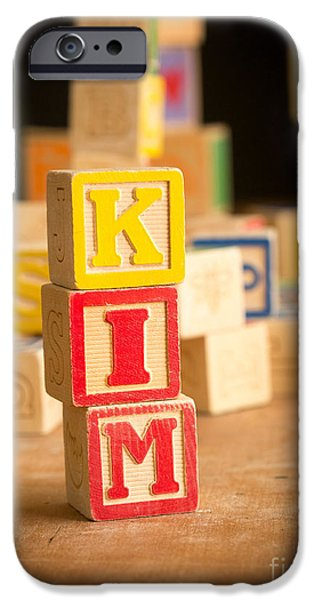 Kim Photographs iPhone Cases - KIM - Alphabet Blocks iPhone Case by Edward Fielding