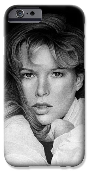 Kim Drawings iPhone Cases - Kim Basinger iPhone Case by Miro Gradinscak