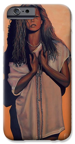 Celebrities Art Paintings iPhone Cases - Kim Basinger iPhone Case by Paul  Meijering